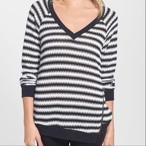 New Sanctuary Fawn Stripe Zip Hem Sweater